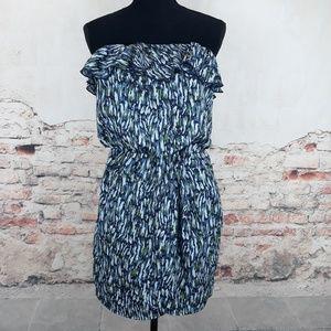 Gap S Blue Print Strapless Ruffle Tulip Dress